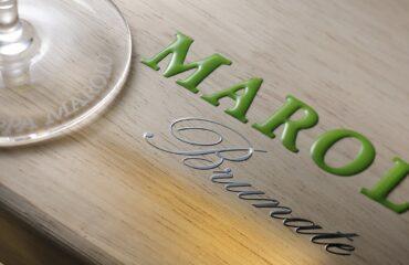 Grappa di Barolo Brunate 2016, particolare della cassa in legno serigrafata